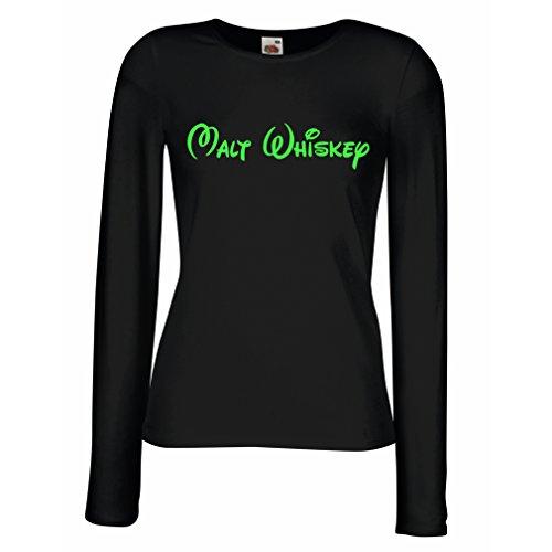 lepni.me Manches Longues Femme T-Shirt Malt Whiskey - Citations Drôles de Boisson, Énonciations Fraîches D'Alcool Noir Verte