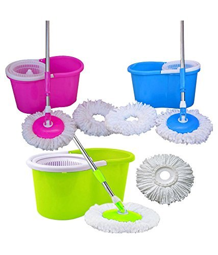 Quick Clean 360° Spin Floor Cleaning Easy Bucket PVC Mop with 2 Microfiber Heads (Multi Color)  available at amazon for Rs.560