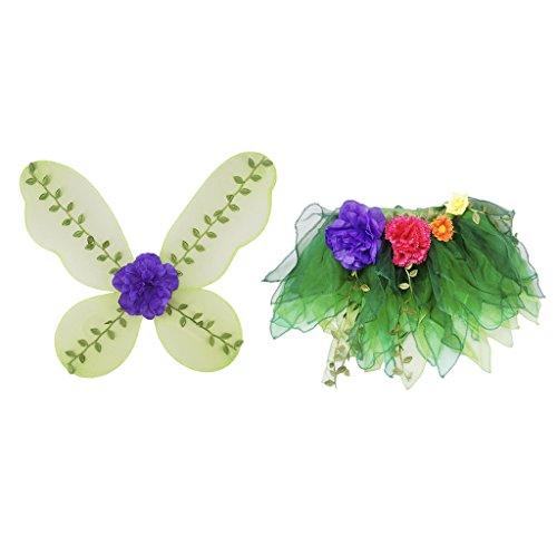 Baby Kostüm Ungewöhnliche - MagiDeal Mädchen Fee Kostüme Outfit Set mit Schmetterlingsflügel Tutu Rock Tanzkleid Blumen Ballettrock - Grün