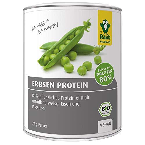 Raab Vitalfood Bio Erbsen Protein Pulver, reines Proteinpulver, 80% Eiweiß, aus biologischem Anbau, vegan, 75 grams