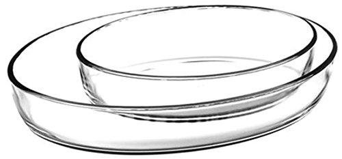 2-teilig Borcam-Set Backform Glas Auflaufform Servierform oval Glasauflaufform