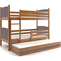 Etagenbett TAMI 3 (für drei Kinder) Farbe: Erle 200x90cm, mit Lattenroste und Matratzen (GRAU) preisvergleich bei kinderzimmerdekopreise.eu