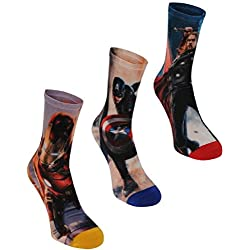 6 pares / 3pares de calcetines con diseños de superhéroes de Marvel, Spiderman, Hulk, Capitán América, Iron Man Azul MARVEL AVENGERS 3 PAIRS XXS