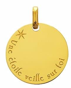 Diamantly - Pendentif or Rond Une Etoile Veille Sur Toi - or 375/1000 (9 Carats) - Unisex - Enfant -Bebe-Adulte