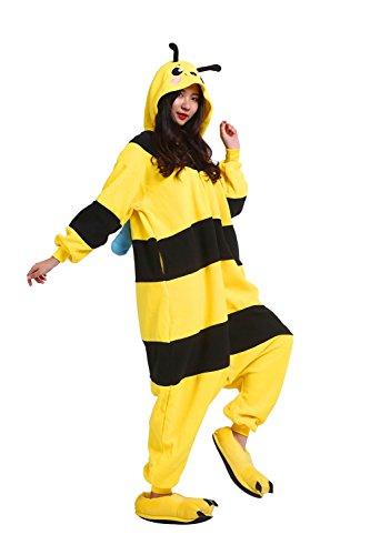 DarkCom Erwachsene Onesies Frauen Pyjamas Sleepsuit Flauschige Kigurumi Halloween Kostüme Overall Biene Klein