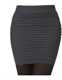 Minetom Femme Sexy Mini Jupes Extensible Moulante Courte Taille Haute Plissée Package Hanche