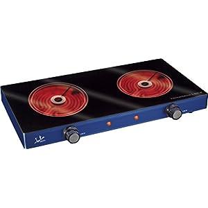 Jata V142 Cocina Eléctrica Vitrocerámica con Dos Placas de 16,5 cm Cuerpo Metálico 2 Termostatos Regulables de…