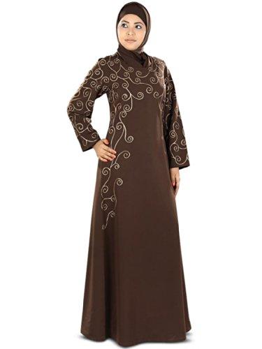 MyBatua hilo marrón musulmán bordado formal y de ocasión abaya burqa AY-307 (3XL)
