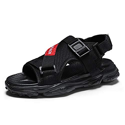 HILOTU Sandalen Für Männer Strand Ziehen Mit Haken Schleife Riemen Mesh wasserdichte Schuhe Erfahren Genäht Leichte Elastische Ferse Dämpfung Einlegesohlen Ausgeschnitten Hausschuhe (Männer Riemen-sandalen)