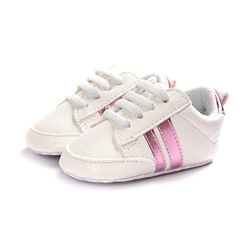 Itaar, Scarpe primi passi bambini White + Gold Stripe 12 - 18 mesi White + Pink Stripe