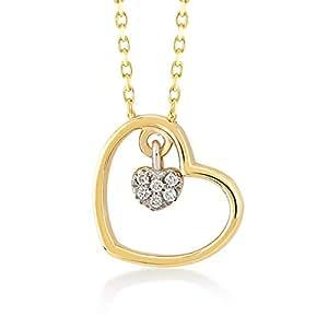 Collana da donna a forma di cuore in oro giallo 14 carati 585, con diamante da 0,02 carati, regalo per compleanno, San Valentino, catena da 45 cm
