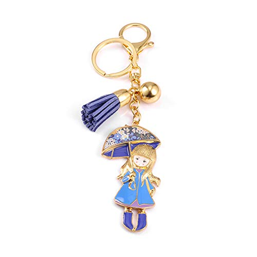ySlkst Hochwertige Drip Gold Farbe Schlüsselbund Tropfen Öl Glasur Kleines Mädchen Blauen Rock Mit Regenschirm Frauen Edelstahl Schlüsselanhänger