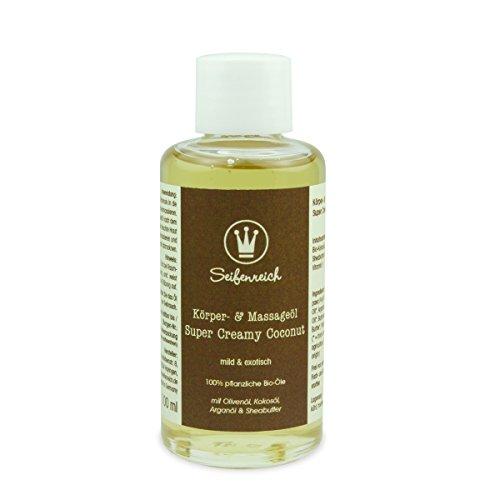 Seifenreich Massageöl Super Creamy Coconut | Hautöl mit Kokos | Körperöl mit nativem Kokosöl, Arganöl und Sheabutter | Naturkosmetik | BIO zertifizierte Pflanzenöle | vegan | 100 ml