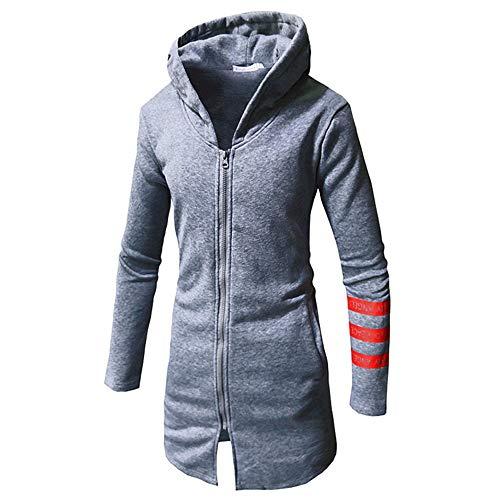 WWricotta Weihnachten Hoodie Mantel Herren Lange Jacke Herbst Winter Casual Warm Stripe Langarm Top Bluse Zip Sweater Trenchcoat (Grau,2XL) Camouflage Womens Sweatshirt