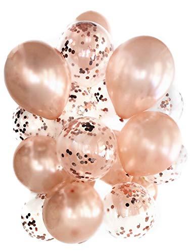 Cavore Konfetti Luftballon Set Rosegold metallic - 20 Stück - Moderne Party-Dekoration - für Geburtstag, Hochzeit, Silvester, Baby-Shower