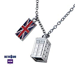 Doctor Who Union Jack Phone Booth Tardis 2 Charm Pendant Costume Necklace