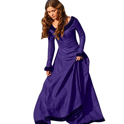 OverDose Frauen Vintage Kleid Mittelalter Kleid Cosplay Kostüm Prinzessin Renaissance Gothic Dress karneval Kleid (A-Purple ,EU-34/CN-S) Stil Voller Rock