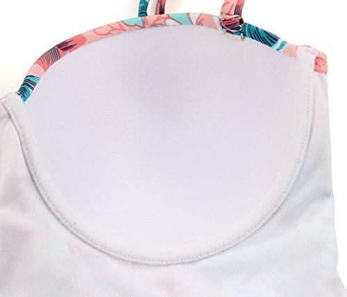 Angerella Damen Vintage Retro Floral Print Ruffles Tankini Oben Schlanke Taille Bikini Set - 5