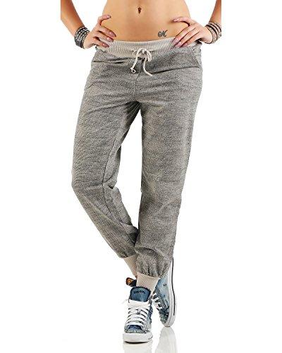 Zarmexx trendy Damen Sweatpants Baggy Boyfriend Freizeithose Jogginghose Baumwolle Sporthose Loose fit (Einheitsgröße: Gr. 36-40, Beige)