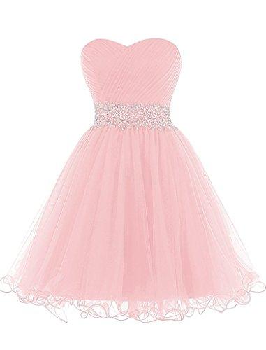 HUINI Tulle Cocktailkleid Kurze Abendkleider Schatz-Ausschnitt Abendkleid mit Perlen Rosa