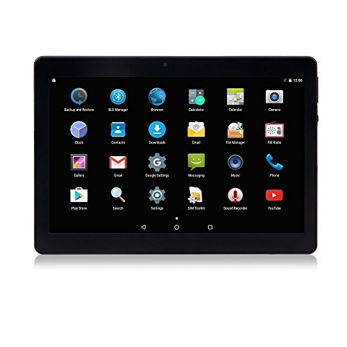 Android Tablet 10 Zoll 3G entsperrt Phablet Octa Core Android 6.0 mit Dual-SIM-Kartensteckplatz 2 GB RAM 32 GB ROM Built-in WiFi Bluetooth GPS Netflix YouTube (Schwarz)