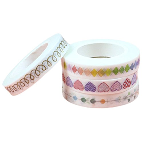 uesae Klebeband Papier Washi Tape Masker Klebeband Glitzer Aufkleber Klebeband Rolle Satinband DIY Dekorative Cute Colorful für Kinder Studenten DIY Aufkleber Klebeband Scrapbook 4 0,8 cm * 10 Mio.