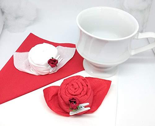 Servietten Rosen,12 er Set, in rot und weiß mit Dekoklammern und roten Rosen zum Geburtstag, Hochzeit, Taufe,Geschenk, Mitbringsel und zu allen besonderen Anlässen.