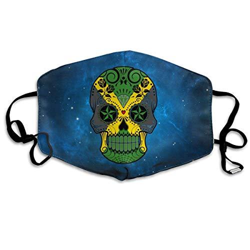 Masken für Erwachsene, Mouth Mask, Breathable Mask Anti Dust, Jamaican Flag Sugar Skull Face Mouth Mask Respirator Comfy Reuseable Dustproof Mouth Cover Warm Windproof Face Protective Guaze Mask - Kostüm Atemschutzmaske Maske