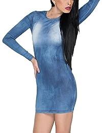 EOZY Robe Bleu Femme Jean Mini Robe Moulant Vintage Manche Longue Été