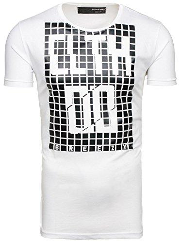 BOLF – T-shirt – Maniche corte – Stampa – Party – Classico – Motivo – Slim fit – Uomo [3C3] Bianco