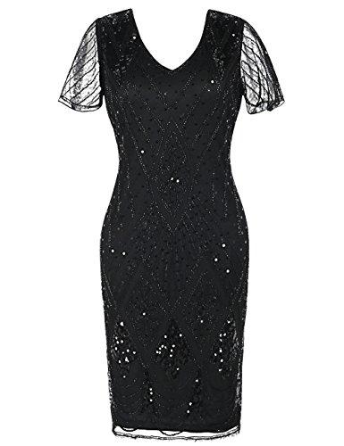 kayamiya Vintage Gatsby Kleid der 1920er Jahre Pailletten Perlen inspiriert Cocktail Flapper Kleid M schwarz
