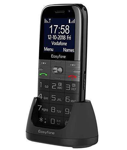 Easyfone Prime A2 - Teléfono Móvil para Mayores con botón SOS y Base cargadora, Nero