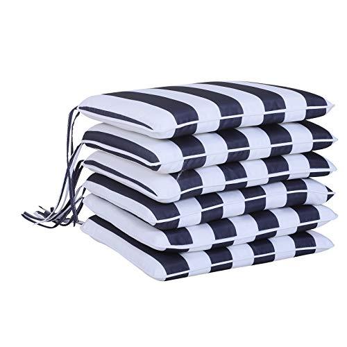 Outsunny 6er-Set Sitzkissen Stuhlkissen Bodenkissen Polsterkissen Sitzauflage abnehmbar Bezug Polyester + Baumwollfaser Blau + Weiß 42 x 42 x 5 cm -