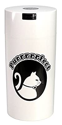Pawvac 24 Ounce Vacuum Sealed Pet Food Storage Container; White Cap & Body/Black Cat