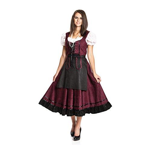 Kostümplanet® Dirndl lang Trachten-Kleid mit Schürze Damen Größe 36/38