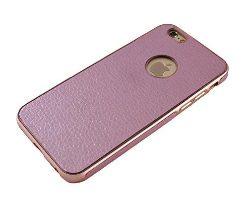 iPhone 66S 6Plus + slim CNC Étui pour téléphone portable Coque bumper Case en aluminium Cadre en métal avec coque arrière recouvert de cuir en Marron Noir Rose marron