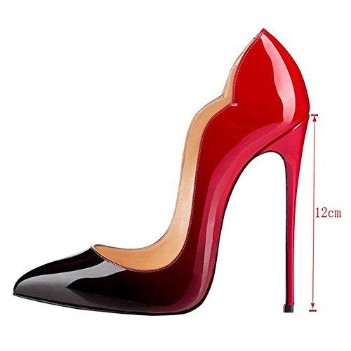 Rot Cuckoo High Stiletto Party Spitzen Toe Auf Slip Heel Patent Hochzeitskleid Schwarz Schuhe Und Damen ggrpxwqSP