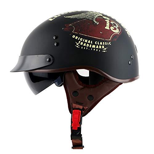 MTCTK D.O.T zertifizierter Retro-Motorrad-Halbhelm mit eingebautem Spiegel Oldtimer-Motorradhelm Elektrofahrrad-Sicherheitshut,B,XXL