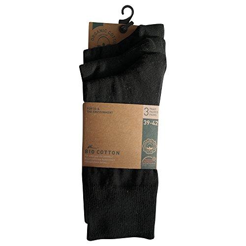 6 Paar Socken Bio 98% Baumwolle Organic Cotton Schwarz Grau ohne Naht (43-46, Schwarz) -