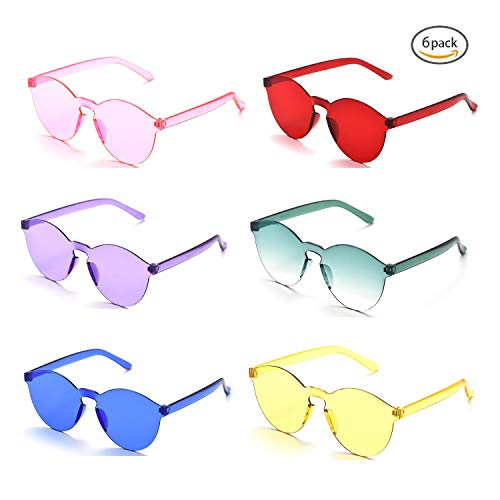 farbige brillen Oaonnea 90er Einteilige Cateye Sonnenbrille Damen Randlos UV Candy Colored Glasses (6 pack)