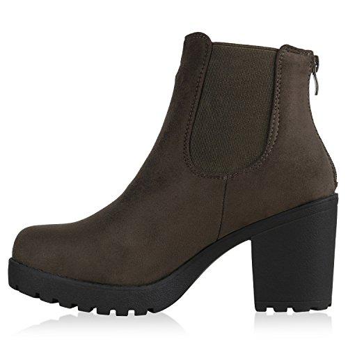 Damen Stiefeletten Chelsea Boots Profilsohle Blockabsatz Dunkelgrün Velours