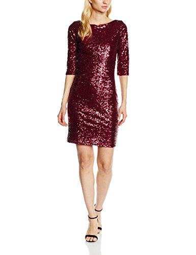 HotSquash Damen Cocktail Kleid Sequin Dress Knielang, Rot (Wine), 38 (Herstellergröße: 10)
