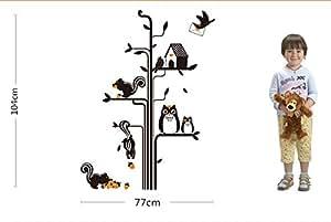 2 jeux d'écureuil Hibou Noir-Cabane à oiseaux stickers Sticker mural en vinyle pour décoration de la maison