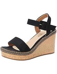 9d1e55ee4a Damen Sommer Sandalen, Damenmode High Heels Ankel Sandalen mit Keilabsatz  Damen Look Fisch Mund Plattform Sandalen Schnalle Slope…