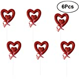 6Pcs Wedding Party Bowknot Sweat-Heart Silk Ribbon Decoration Birthday Cake Toppers (Red)