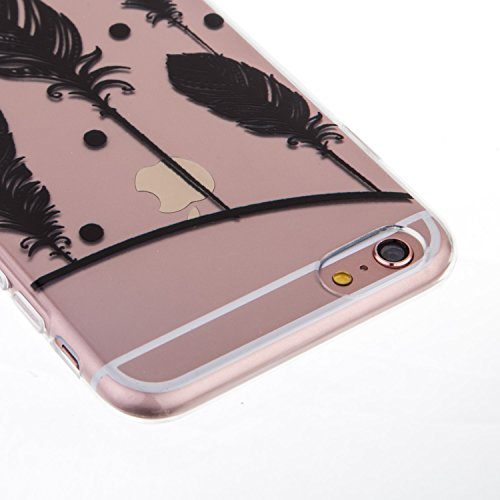 iPhone 6S Plus Hülle, iPhone 6 Plus Hülle, SainCat Silikon Hülle Tasche Handyhülle [Kratzfeste, Scratch-Resistant] TPU Bumper Case Weiches Gel Cover Schutzhülle Crystal Kirstall Clear Case Durchsichti Feder
