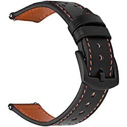 Correas Cuero iBazal 22mm Piel Pulseras Bandas Compatible con Samsung Galaxy Watch 46mm,Gear S3 Frontier Classic,Huawei GT/2 Classic/Honor Magic,Ticwatch Pro Hombres(Reloj No Incluido) - Negro/Naranja