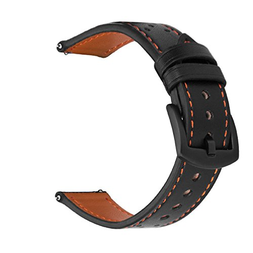 iBazal 22mm Bracelet Cuir Bandes Compatible avec Gear S3 Frontier Classic,Galaxy Watch 46mm Watch Band Remplacement pour Huawei GT/Honor Magic/2 Classic,Ticwatch Pro Hommes Montres - Noir/Orange