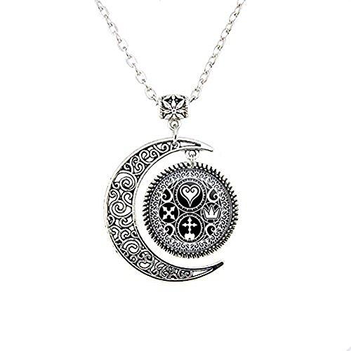 Handgefertigt Kingdom Hearts Ultimania Trinity Emblem Halskette Mond, Mond Halskette Geschenk für sie ihn, nekel gratis Schmuck