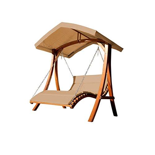 ASS Design Hollywoodliege Doppelliege Hollywoodschaukel Gartenschaukel Aruba-BRAUN aus Holz Lärche mit Dach von